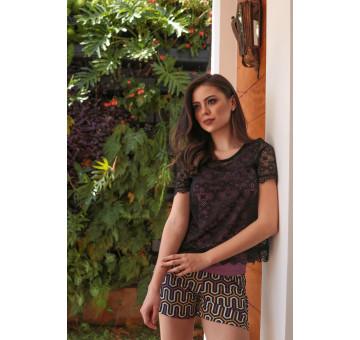 Pijama c/ Shorts Venezia 3 peças
