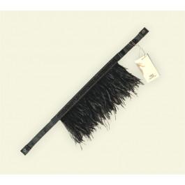 Cinto elástico em couro e plumas